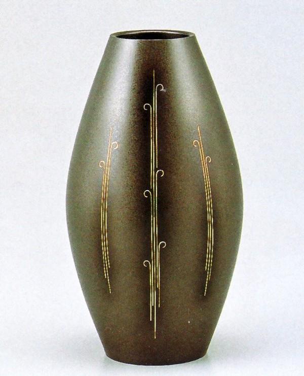 象嵌入り 高岡銅器の銅製花瓶/新砲形 銀線象嵌 化粧箱付/送料無料