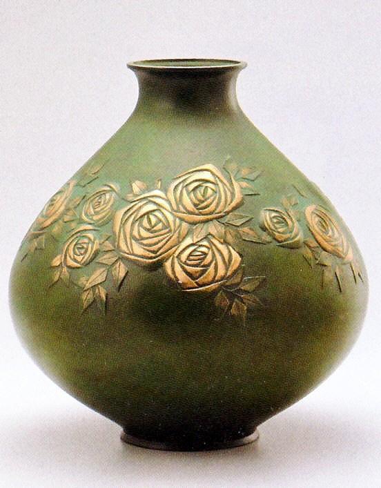 高岡銅器の花瓶/薔薇  亜鉛合金製/美術工芸通販