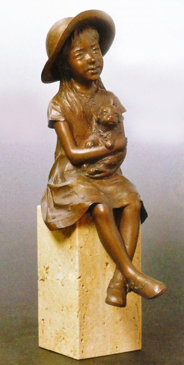 銅製置物 高岡銅器作品 洋風置物/小さな友だち 大道寺光弘作品 美術工芸通販