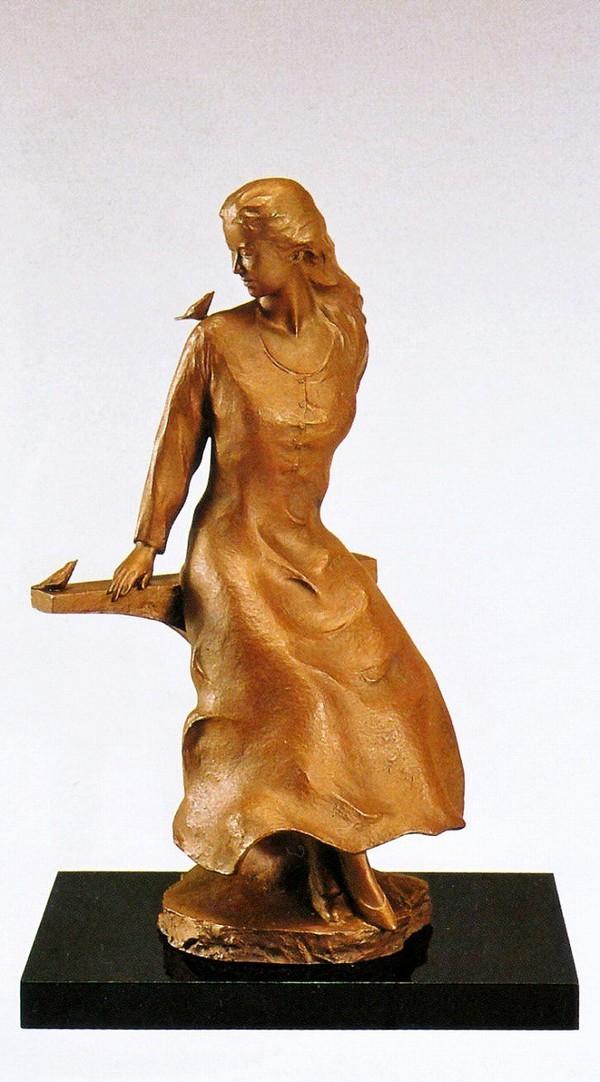 大道寺光弘の置き物 高岡銅器作品/木もれびの中で 大道寺光弘作品 送料無料