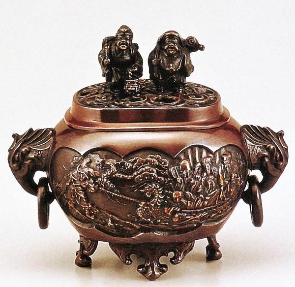 七福神の香炉/小判型七福神 小 恵比須大黒蓋香炉 桐箱付/高岡銅器 送料無料