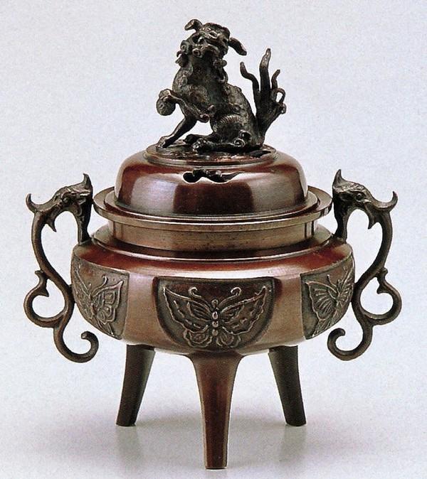 高岡銅器の香炉/大和型獅子蓋香炉 小 桐箱付/送料無料