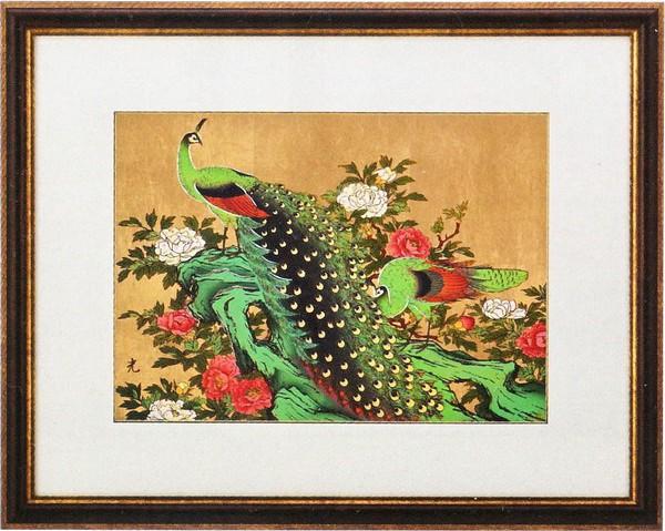 彫金パネル額付/孔雀に牡丹(金箔アート) 高岡銅器通販/送料無料
