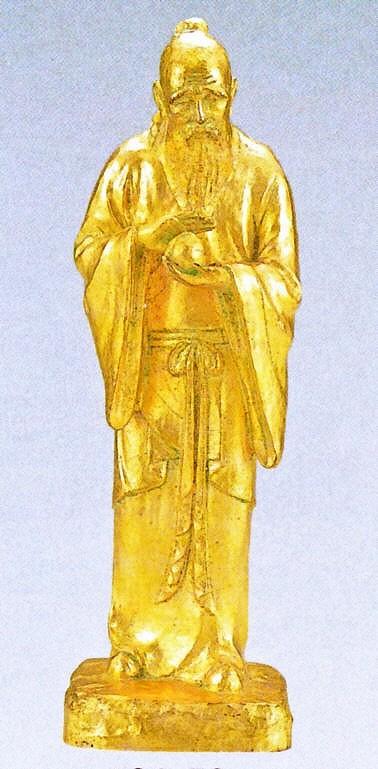 不老長寿の置物(金箔)/北村西望作品 日本彫刻界の最高峰 高岡銅器通信販売