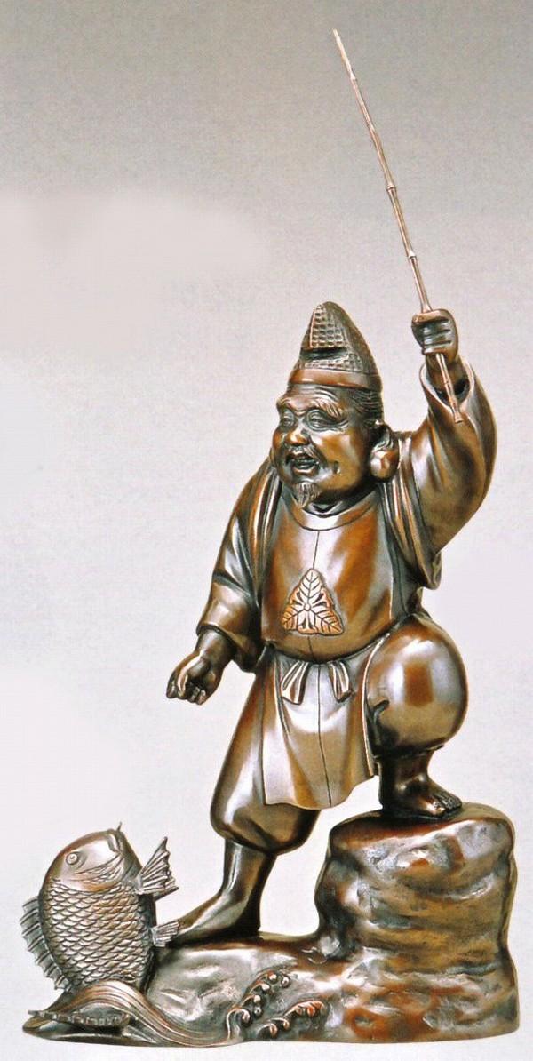 恵比須様の置物 恵比須12号(上味色) 高岡銅器通販/送料無料