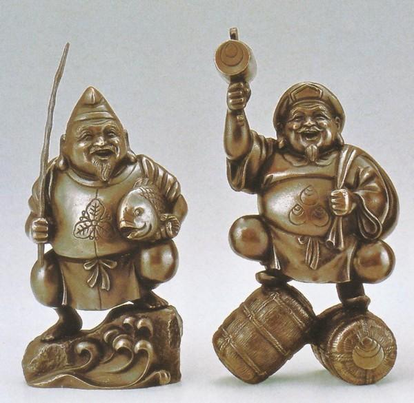 弐福神 恵比須・大黒天 置物通販/高岡銅器の和風置物 送料無料