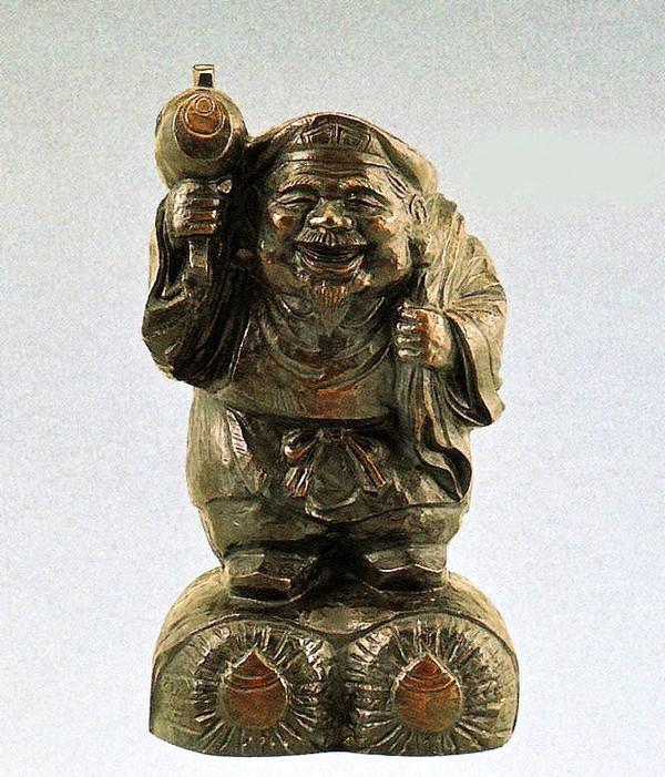 大黒様の置物 木彫風大黒 般若純一郎作品 高岡銅器通販/送料無料