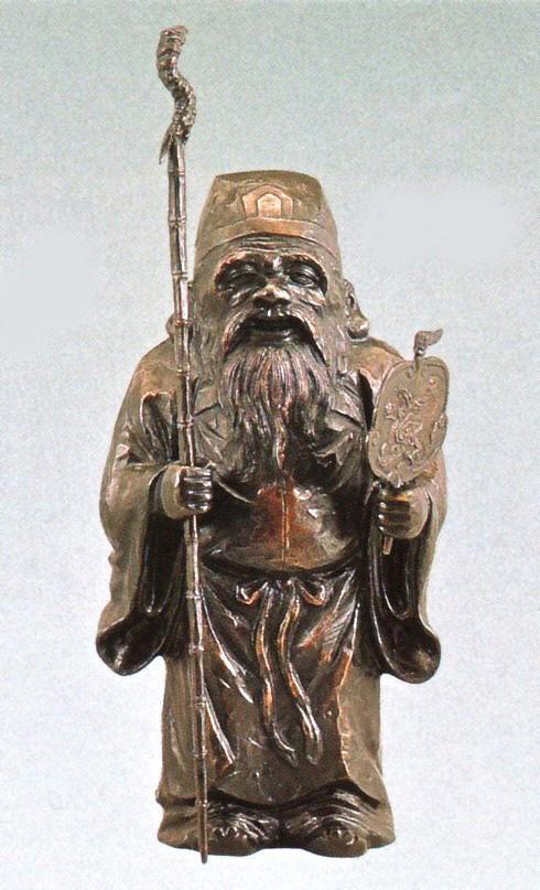 寿老人の置物 木彫風寿老人 般若純一郎作品 高岡銅器通販/送料無料