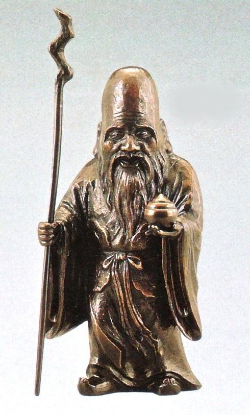 福禄寿の置物 木彫風福禄寿 般若純一郎作品 高岡銅器通販/送料無料