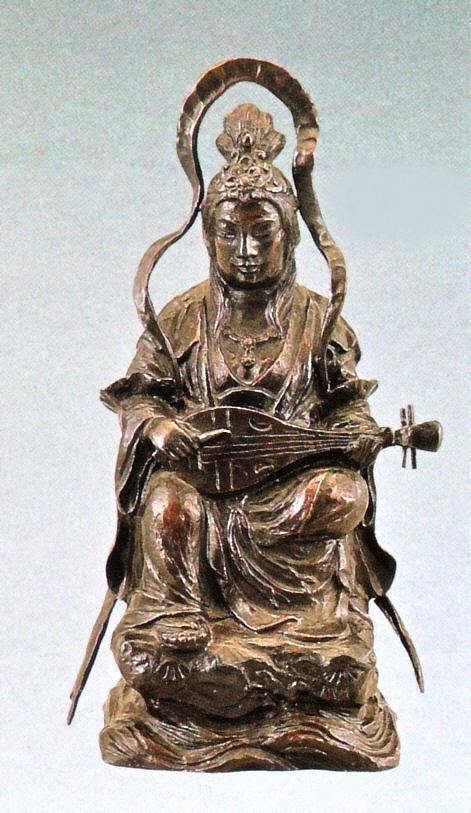 弁天さまの置物 木彫風弁財天 般若純一郎作品 高岡銅器通販/送料無料