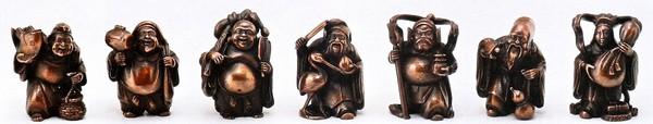 高岡銅器の置物/ミニ七福神 1体ずつ桐箱付/高岡銅器の置物