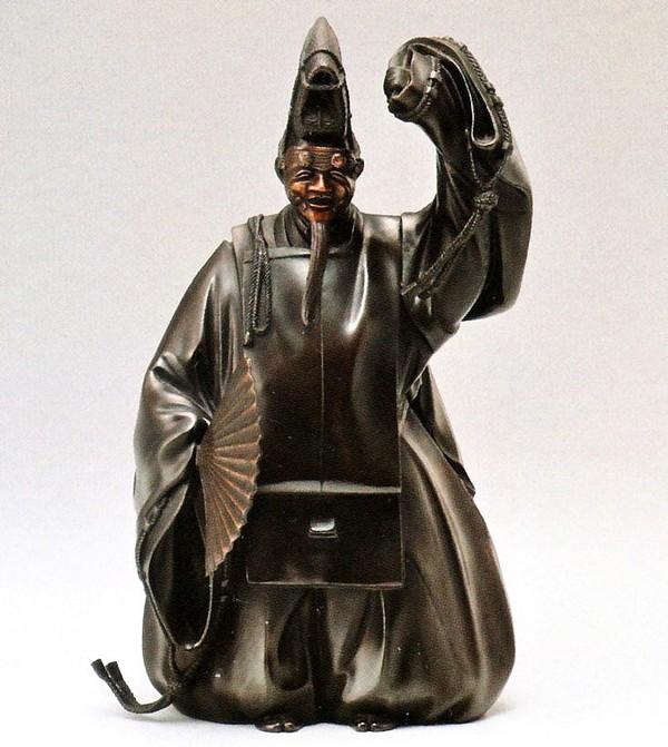 翁の和風置物/舞翁 上 桐箱付/高岡銅器