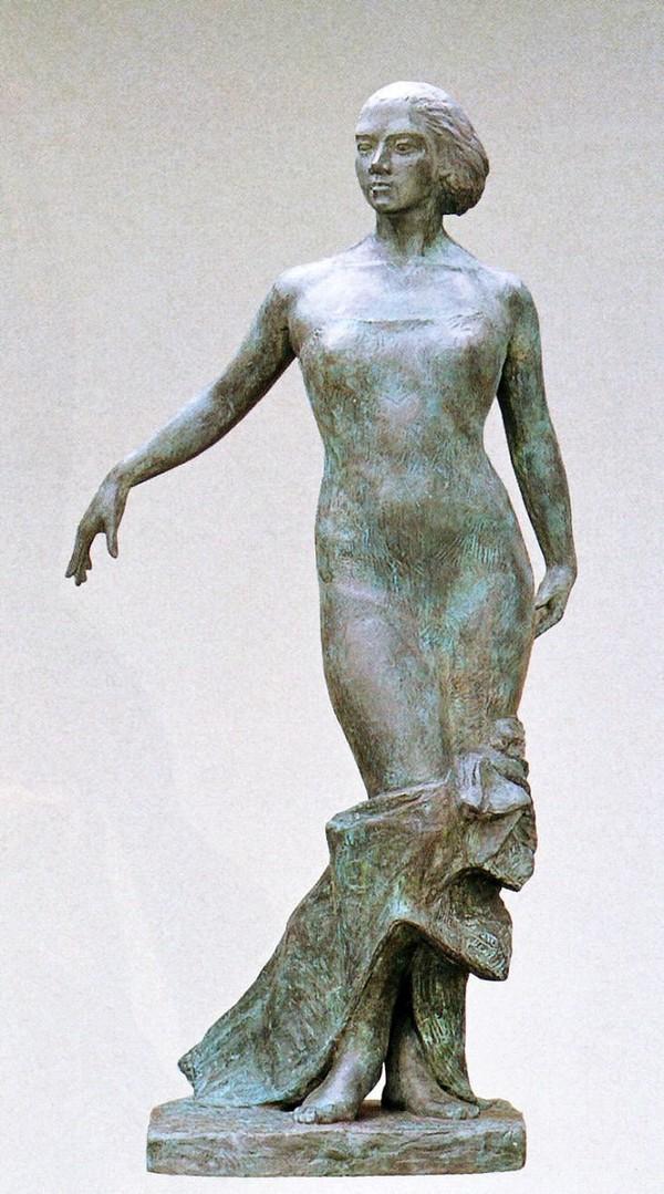 高岡銅器の大型ブロンズ像/華 森田清一作品 銅製 美術工芸
