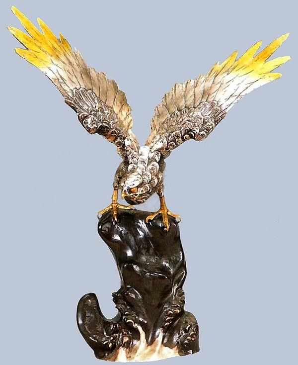 高岡銅器 鷹の置物/岩鷹 30号(古手色) 美術工芸通販/送料無料