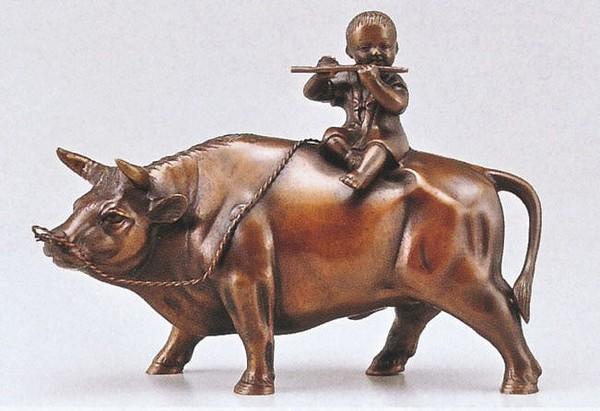 高岡銅器 牛の置物/立牛童子 8号 美術工芸通販
