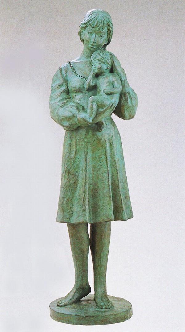 高岡銅器 大型ブロンズ像/マリアの母子像 丸山幸一作品 送料無料