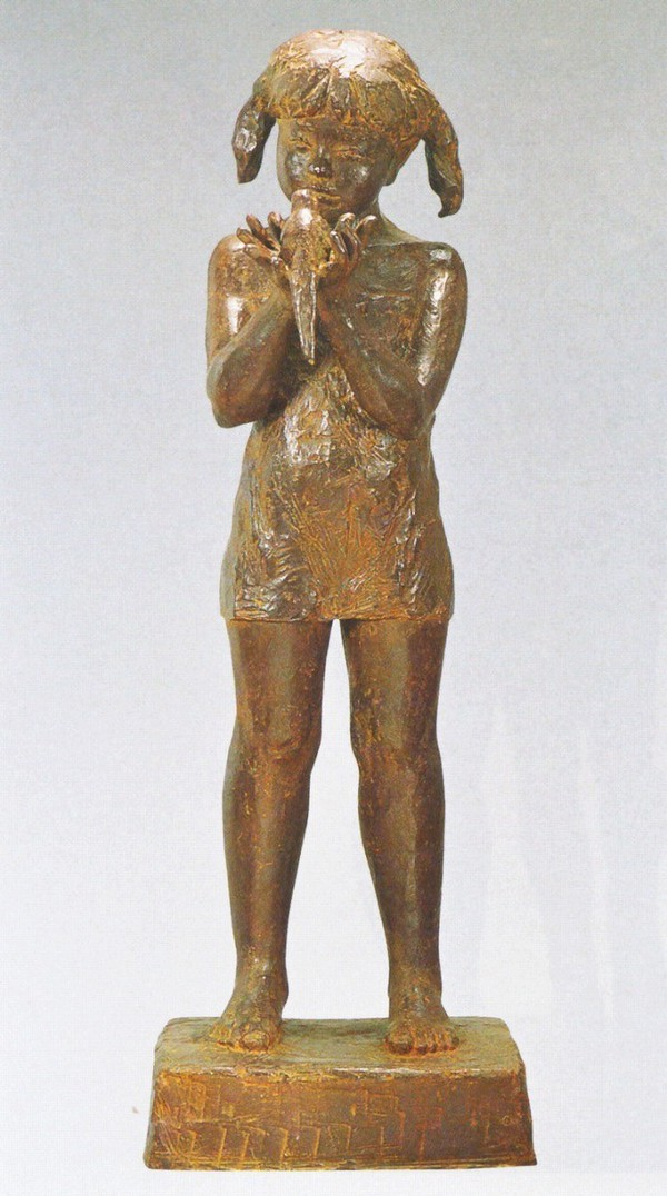 大型ブロンズ像/鳥と少女 林清史作品 大型ブロンズ像/高岡銅器
