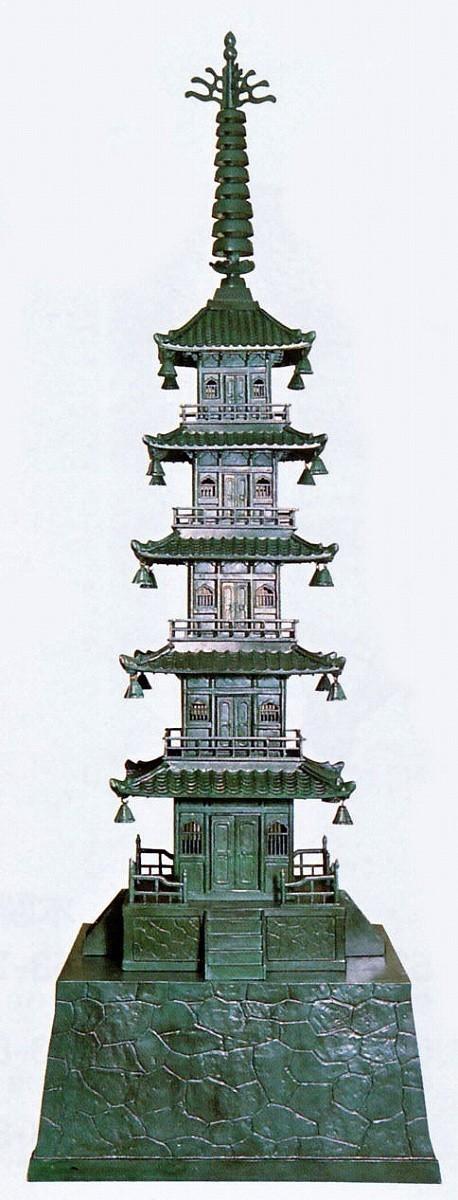 庭置物/五重の塔 30号 庭園の置物 高岡銅器の庭置物/美術工芸通販