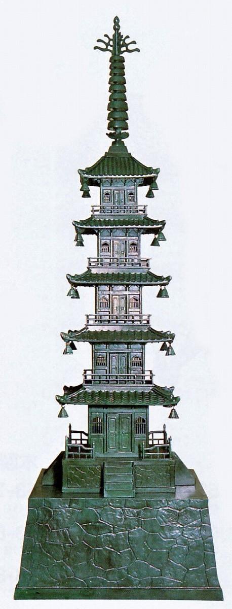 庭置物/五重の塔 40号 石垣台付 庭園の置物 高岡銅器の庭置物/美術工芸通販