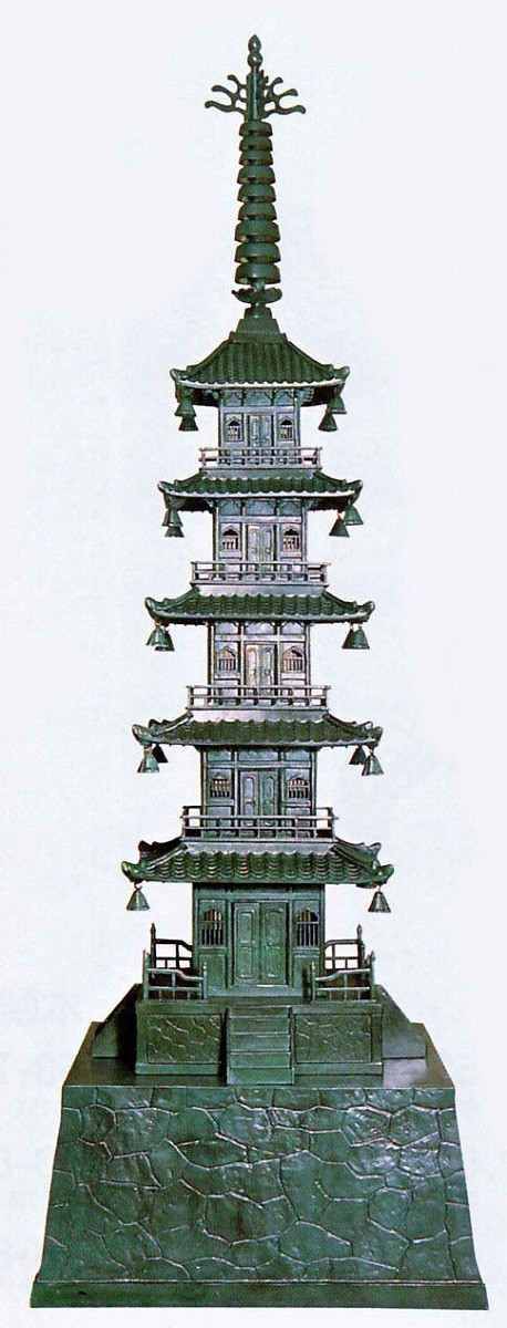 庭置物/五重の塔 80号 庭園の置物 高岡銅器の庭置物/美術工芸通販