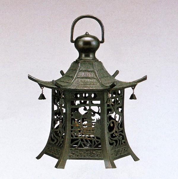 吊るし灯籠/六角 楼閣山水 クサリ付 高岡銅器の庭置物/通販
