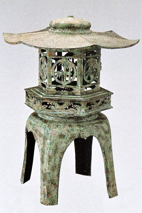 置き灯籠/六角 雪見燈籠14号(青銅色) 高岡銅器の庭置物 美術工芸通販