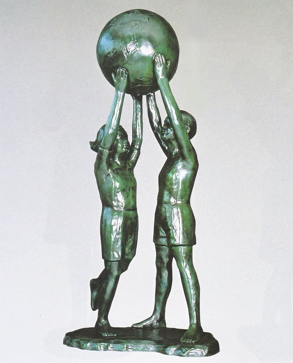 般若純一郎作品 大型ブロンズ像/大望の像 48号 般若純一郎作品 高岡銅器