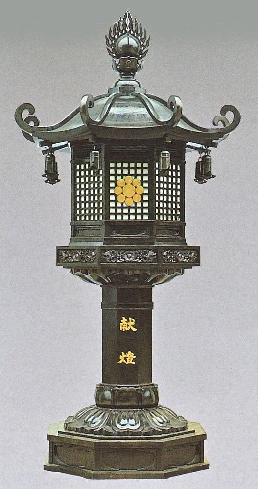 神社仏閣の燈籠/八角型燈籠一対 6尺 高岡銅器の神仏具/美術工芸通販