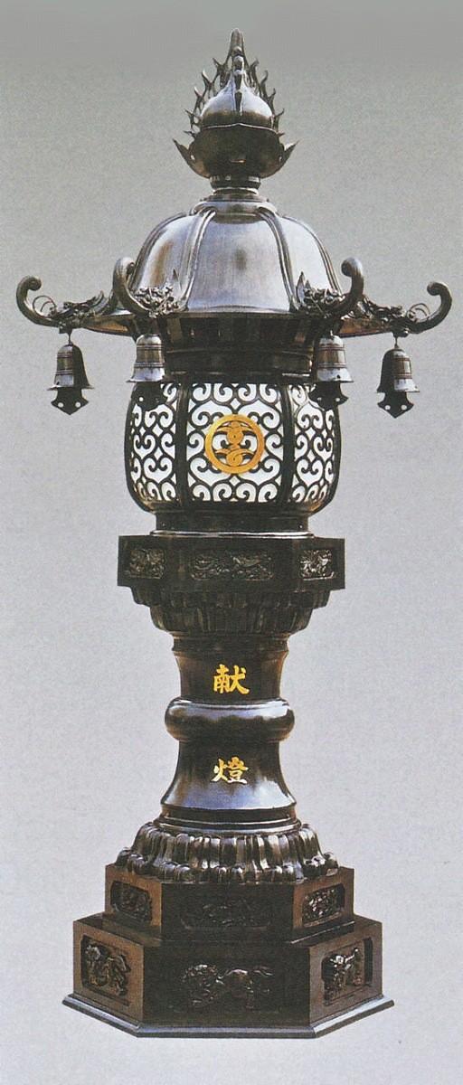 神社仏閣の燈籠/六角型 台燈籠 一対 80号 高岡銅器の神仏具/美術工芸通販