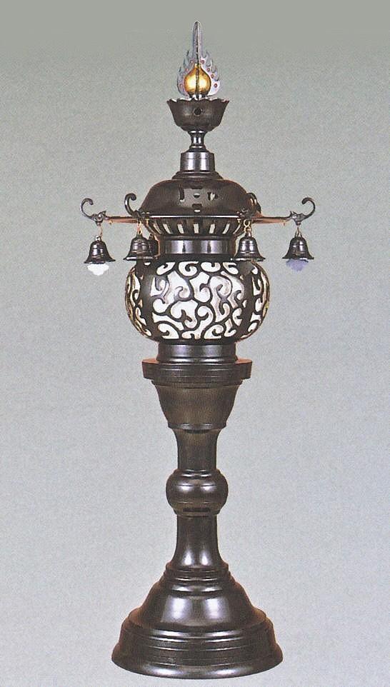 神社仏閣の燈籠/丸型 台燈籠 一対 20号 高岡銅器の神仏具/美術工芸通販