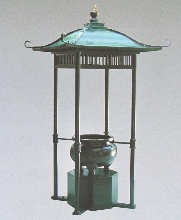 屋根付香炉 3尺5寸 柱垂直建 格子型/高岡銅器の神仏具 送料無料