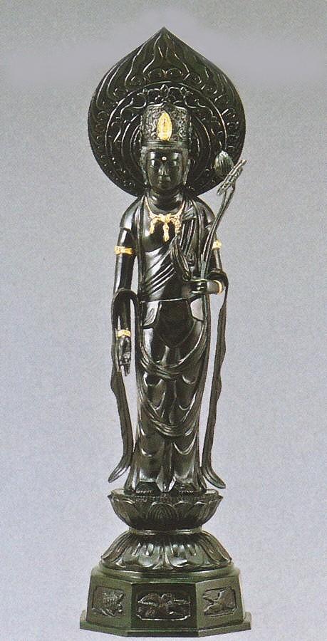 仏像/聖観音火炎光背 30号 般若純一郎作品 高岡銅器の神仏具/送料無料