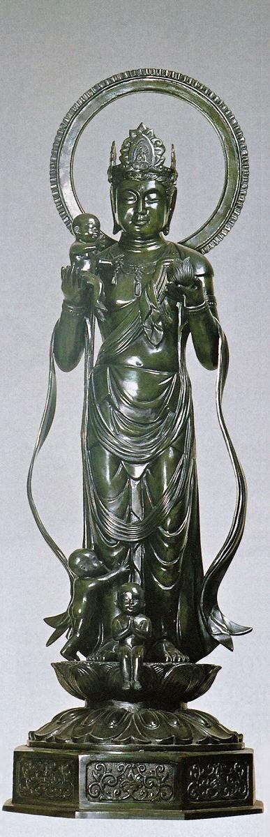 仏像/水子観音 50号 般若純一郎作品 高岡銅器の神仏具/送料無料
