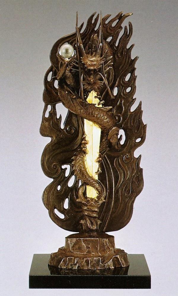 倶利伽羅不動 尺1/高岡銅器の仏像 塗板/化粧箱付