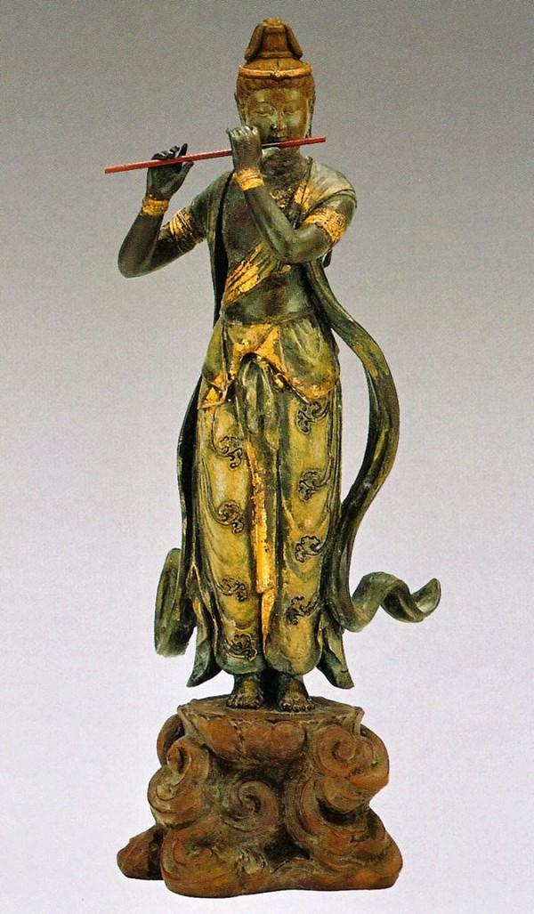 音声菩薩像(天上の音色)/高岡銅器の仏像 喜多敏勝作品 美術工芸通販/送料無料