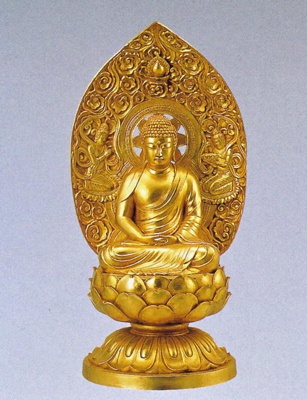 釈迦如来の仏像/金箔仕上げ 十三仏 高岡銅器の仏像/長田晴山作品