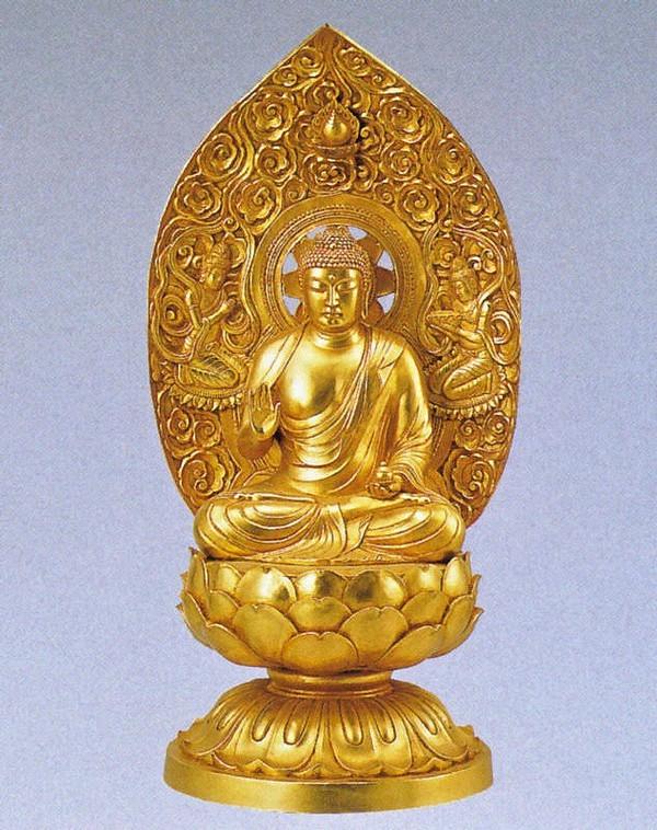 弥勒菩薩の仏像/金箔仕上げ 十三仏 高岡銅器の仏像/長田晴山作品
