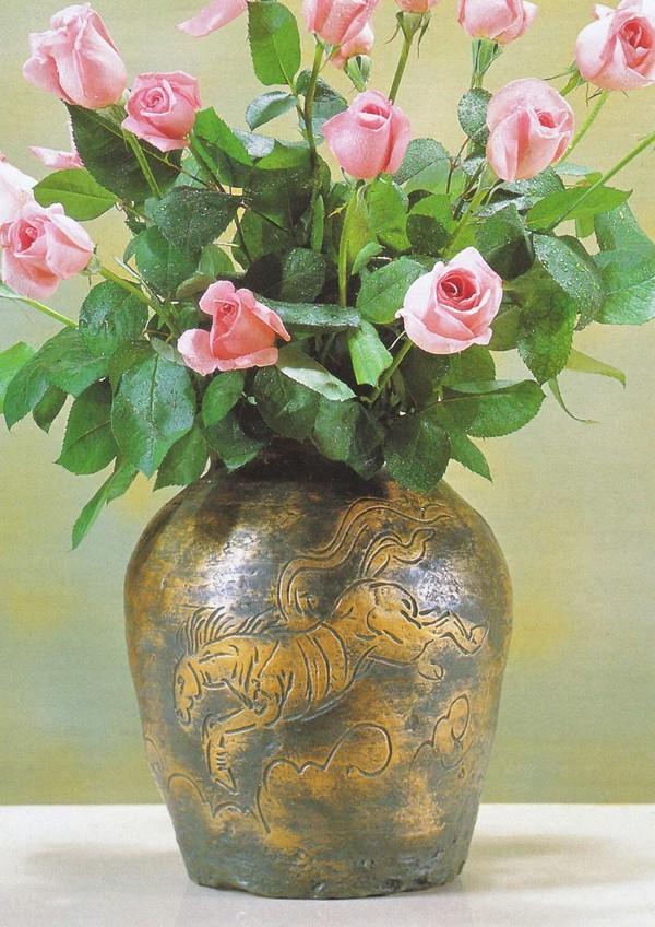 北村西望作品 銅製花瓶/来福 北村西望作品 桐箱付/高岡銅器