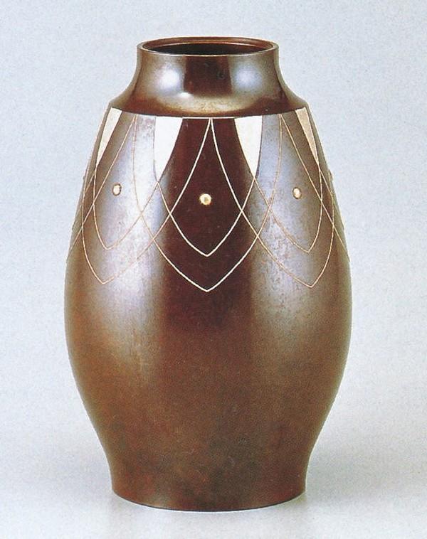 中谷秀山作品 銅製花瓶/鼓型 銀象嵌9号 中谷秀山作品/桐箱付