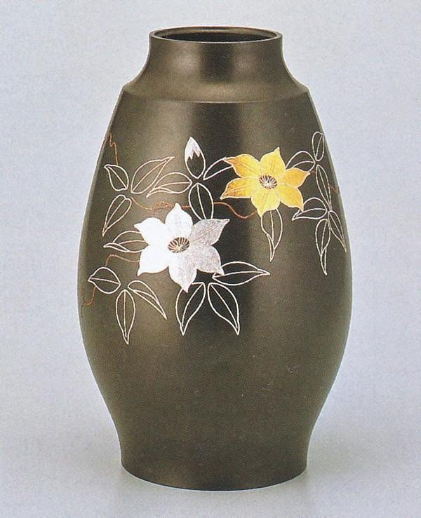高岡銅器の銅製花瓶/鼓型 テッセン銀線象嵌 9号 中谷秀山作品/桐箱付
