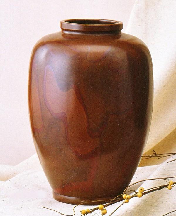 伝統的工芸品 銅製花瓶/夏目形 10号 吉野竹治作品 高岡銅器
