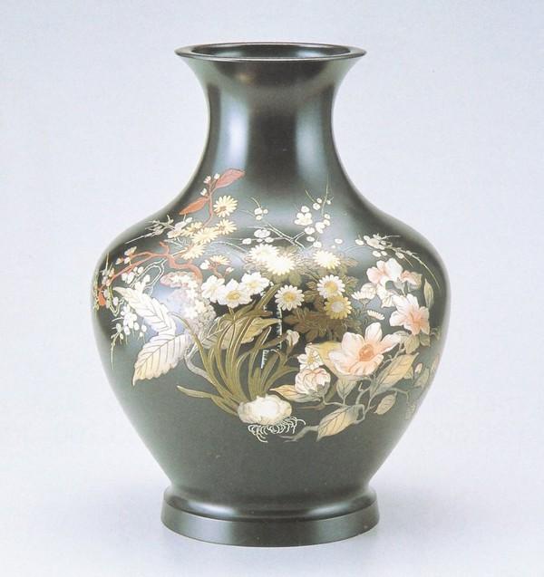 銅製花瓶 高岡銅器 大寿形 化粧箱付 品質保証 山本秀峰作品 毎日続々入荷 早春の花13号