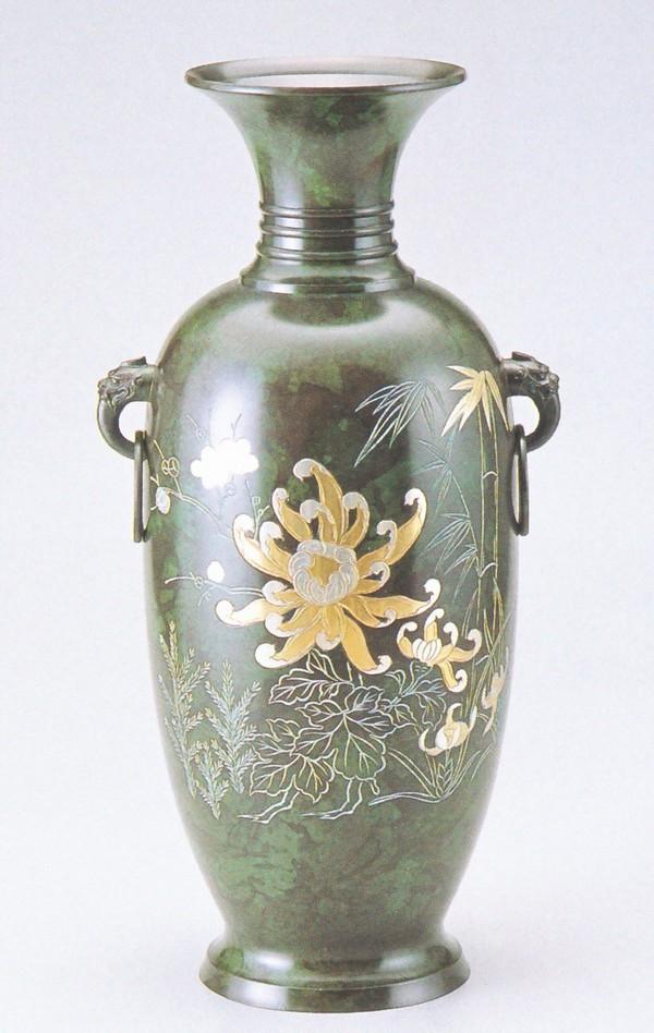 花瓶/高岡銅器 大鳳形 菊四君子 美術工芸通販/送料無料