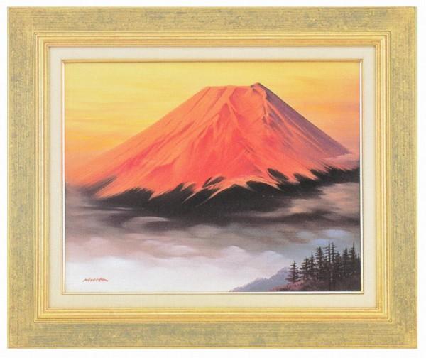 油絵/赤富士 森田浩二作品 F6サイズ 肉筆油絵 油彩額装作品