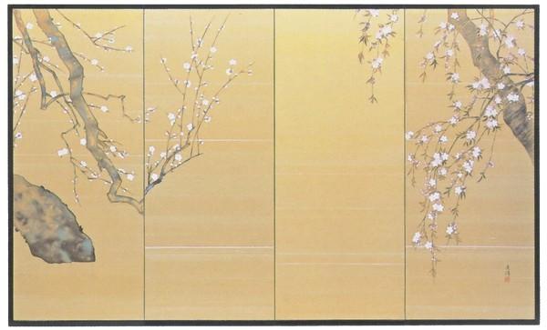節句屏風/上巳の節句 白梅に桜 四尺四曲半双屏風 絹シケ仕様