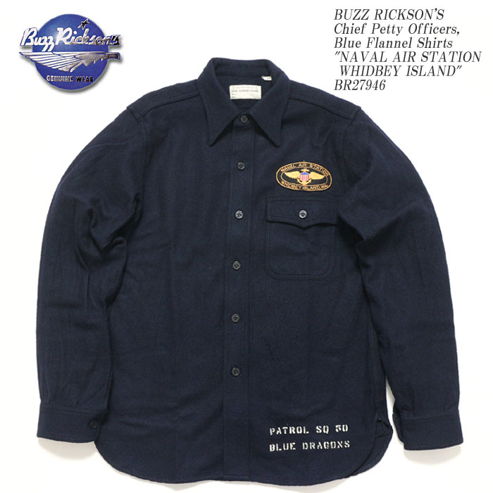 BUZZ RICKSON'S バズリクソンズ Chief Petty Officers, Blue Flannel Shirts PATCHBR27946 ≪新商品!≫