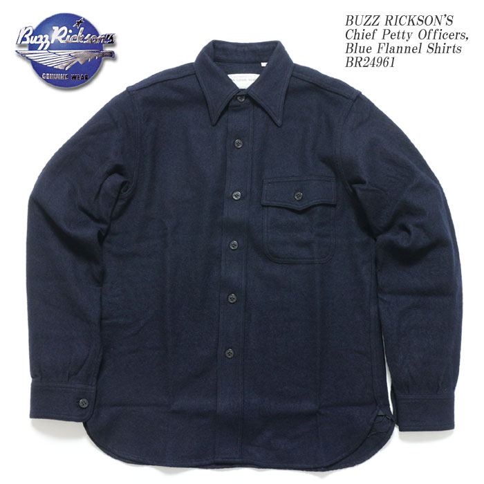 BUZZ RICKSON'S バズリクソンズ Chief Petty Officers,  Blue Flannel Shirts BR24961