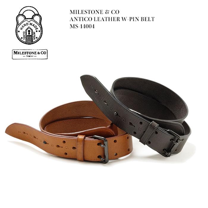 MILESTONE & CO マイルストーン ANTICO LEATHER W-PIN BELT MS-14004 国産 日本製 レザーベルト 送料無料