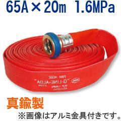 【岩崎製作所/散水用・未検定品】Gライン-アルバ 65A×20m 1.6MPa 真鍮金具付 両面樹脂引きホース