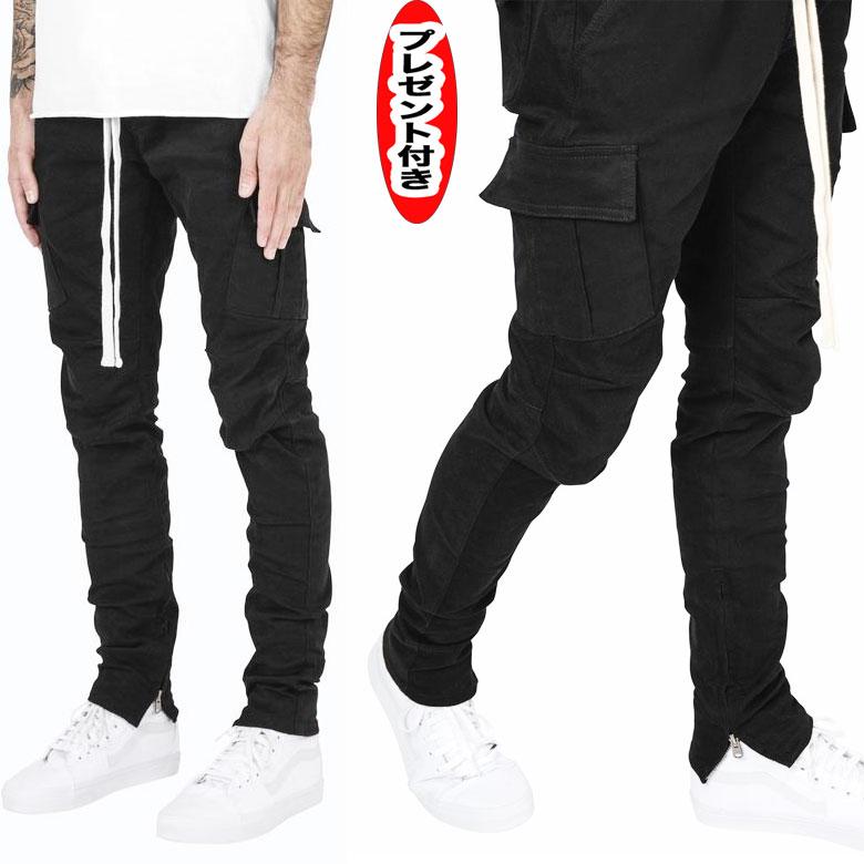 mnmlミニマル ボトムス Cargo Drawcord Pants 裾ジップ BLACK ストリート スソジップ サイドジッパー ファスナー スキニー ジップ ZIP インポート ドローコード